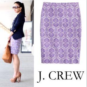 J Crew No. 2 Pencil Skirt Purple Medallion Paisley